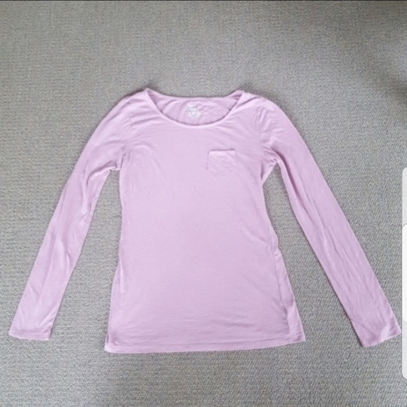 GAP Tops - Gap Pink Long Sleeve Cotton Pocket Fitted Tee